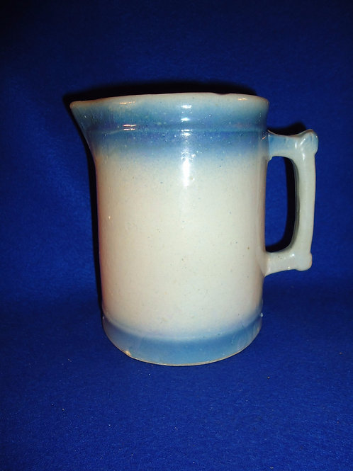 Blue and White Stoneware Pitcher with Diffused Blue Coloration