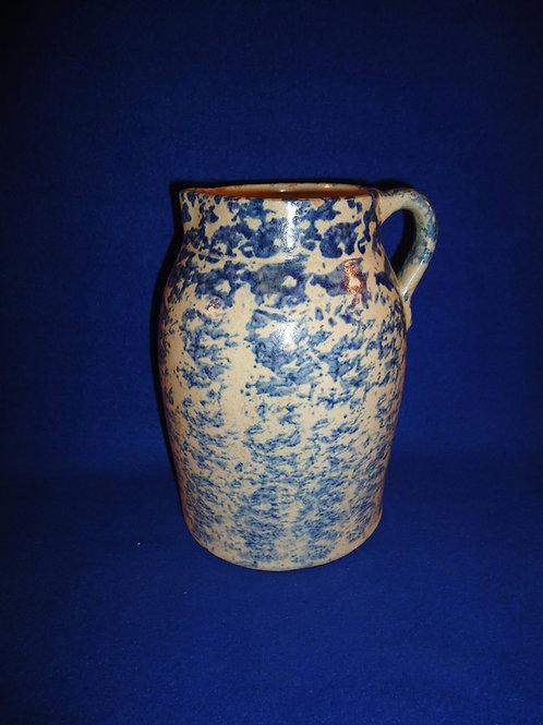 Blue and White Spongeware Stoneware Russian Milk Pitcher #5190