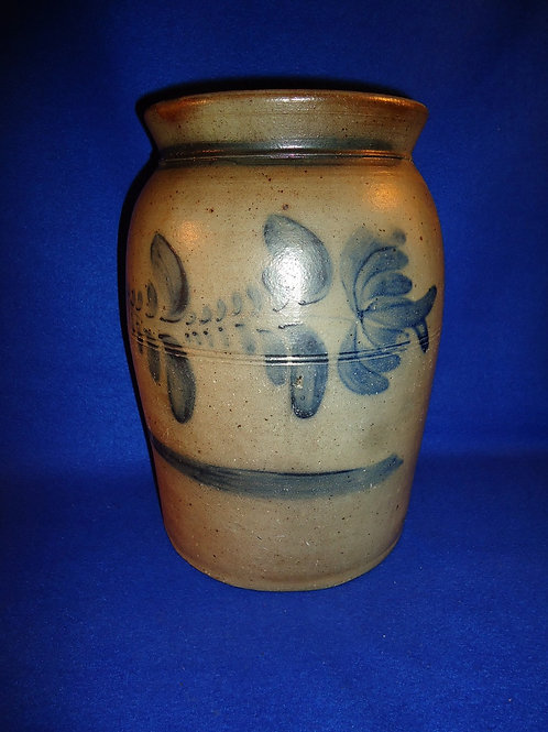 Circa 1865 2g Stoneware Jar with Large Fuchsia from SW Pennsylvania