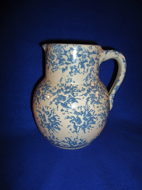 Signed Uhl Spongeware Stoneware Pitcher, Huntington, Indiana #4539