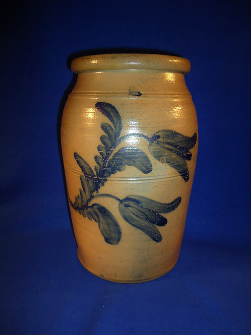 Circa 1860 2 Gallon Stoneware Jar with Tulips, att. Boughner of Greensboro, PA