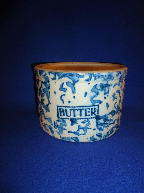 Blue and White Spongeware Stoneware Butter Crock, Bold Blue #5456
