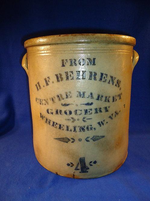 H. F. Behrens, Grocery, Wheeling, West Virginia Stoneware 4 Gallon Crock