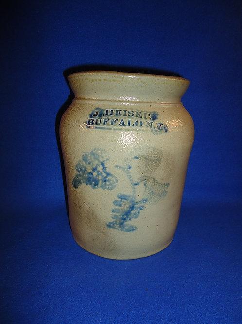 J. Heiser, Buffalo, New York Stoneware 1 Gallon Preserve Jar with Floral #5846