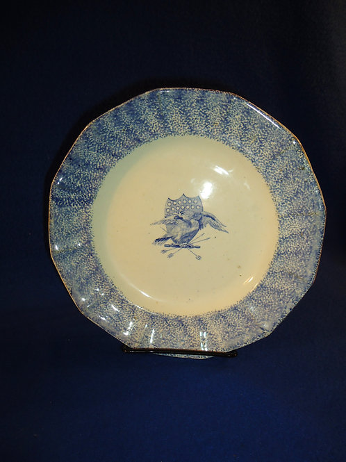 Mid-19th Century Spatterware Plate with Patriotic Eagle and Shield Decoration