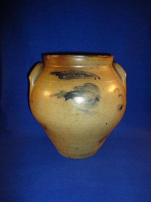 Chollar, Darby, & Co., Cortland, New York Stoneware Large Ovoid Jar with Tulip