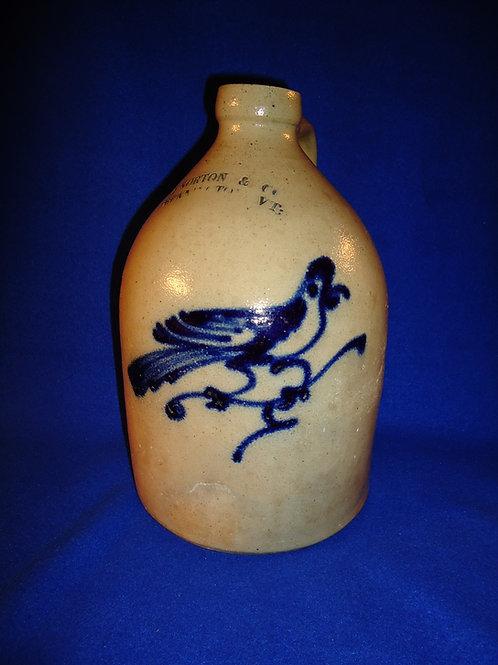 J. Norton, Bennington, Vermont 1 Gallon Stoneware Jug with Bold Bird on a Branch