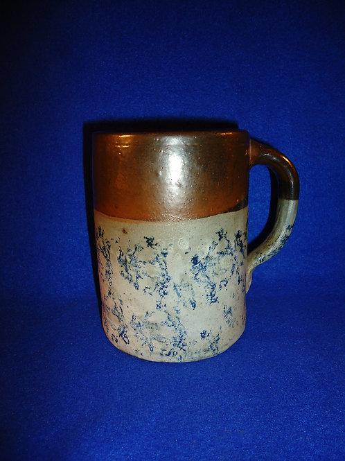 Unusual 19th Century Blue Spongeware Stoneware Mug