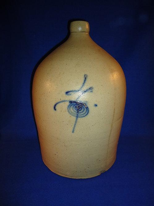 4 Gallon Stoneware Salt Glaze Jug with Bumblebee, att. North Star, Red Wing MN