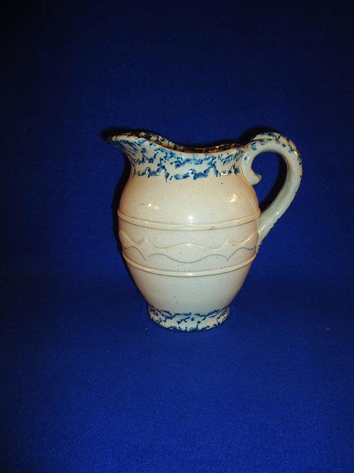 Blue and White Spongeware Hot Water Pitcher, Running Diamond & Oval, #4889