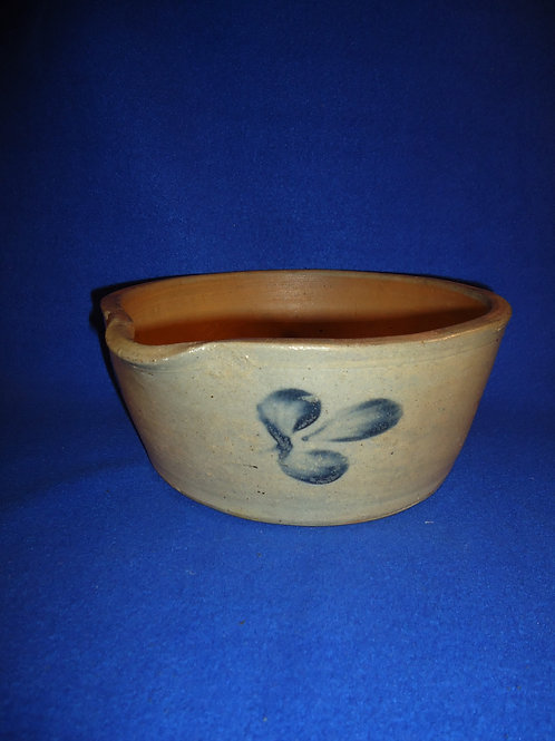 Circa 1870 Stoneware Milk Bowl from Baltimore, Maryland with Clovers #5230