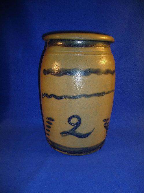 R. T. Williams, New Geneva, Pennsylvania Stoneware 2 Gallon Striper Jar, #4961