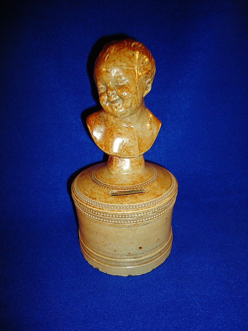 English Stoneware Bank with the Bust of a Happy Child