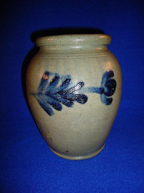 Henry Remmey, Philadelphia, Pennsylvania Stoneware Ovoid Jar with Tulips