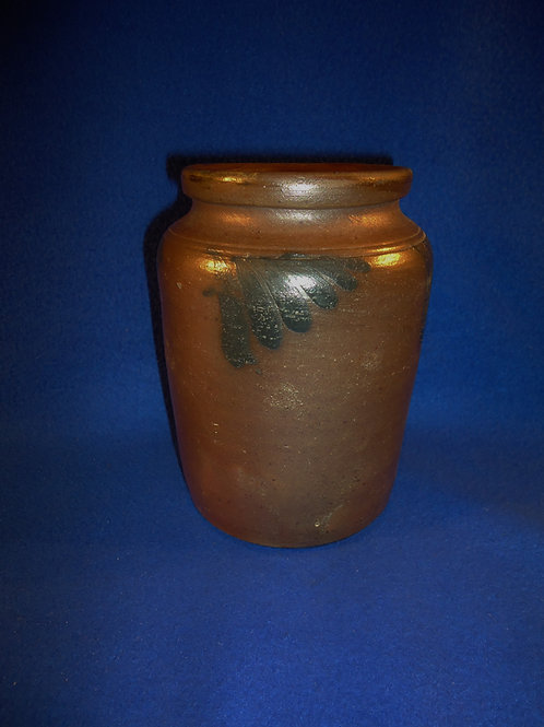 """Circa 1870 Stoneware 6 1/2"""" Jar with Comma Vining from Eastern Pennsylvania"""