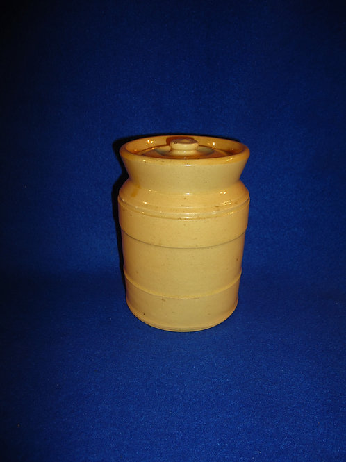 Unusual Yellow Ware Lidded Jar with Embossed Bands
