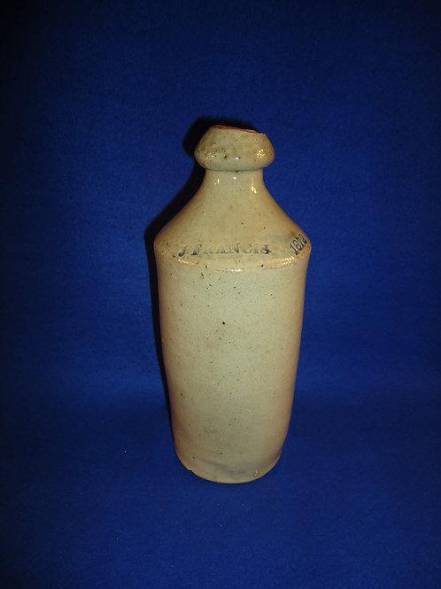 J. Francis 1872 Stoneware Bottle #5525