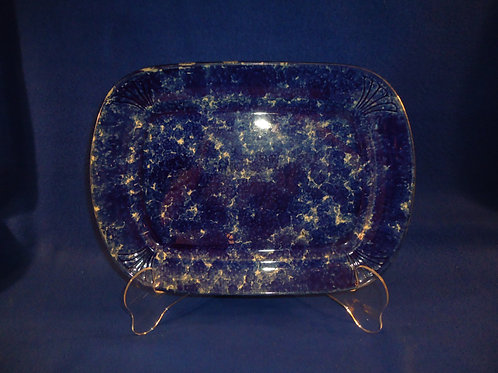 Blue and White Spongeware Stoneware Platter with Molded Florals