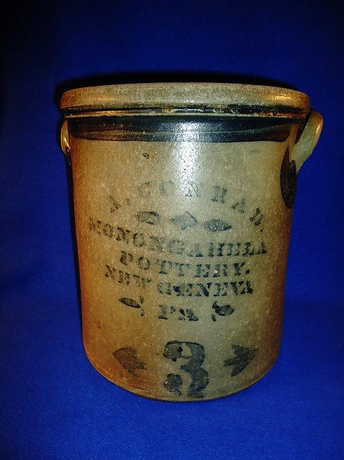 A. Conrad, New Geneva, Pennsylvania Stoneware 3 Gallon Crock