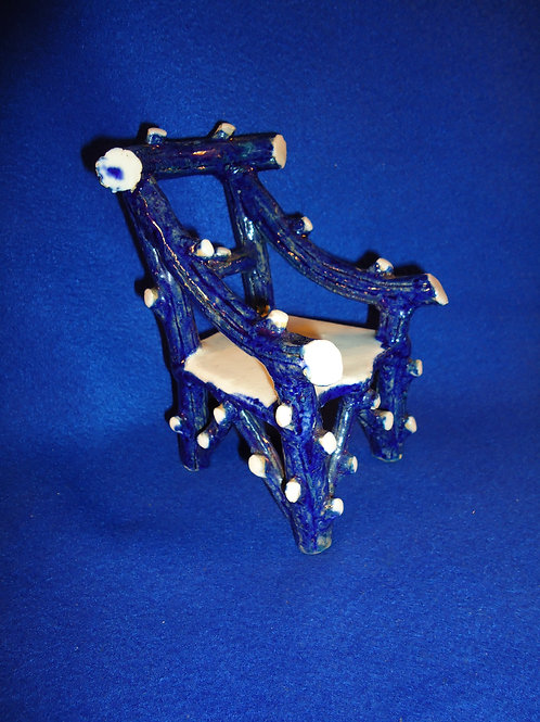 Blue and White Stoneware Miniature Chair from Scotland