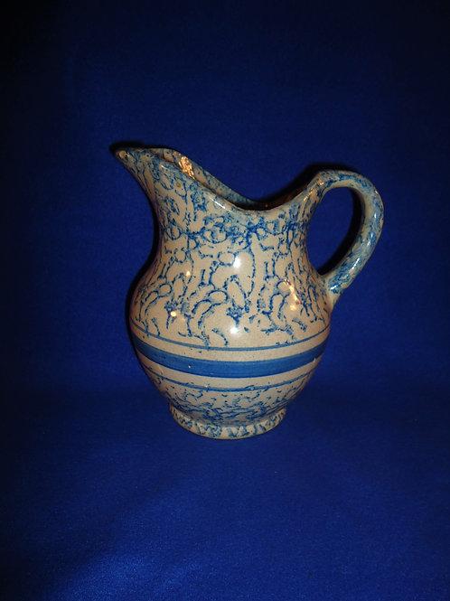 Blue and White Spongeware Stoneware Hot Water Pitcher, #4852