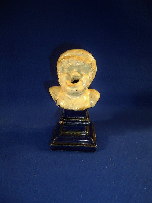 Bust of a Woman on a Pedestal Stoneware Inkwell
