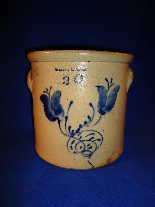Cortland, New York Stoneware 2 Gallon Crock with Tulips, att. Woodruff