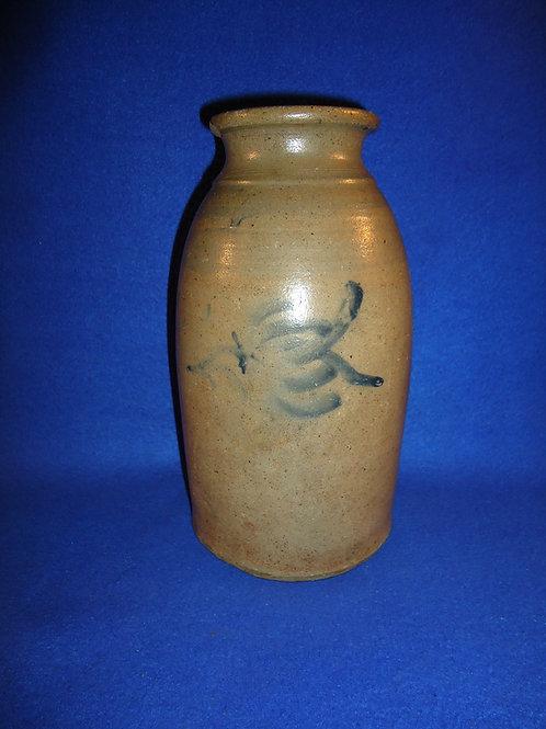 Circa 1870 Slender Stoneware Canning Jar with Tulip, SW PA #5820
