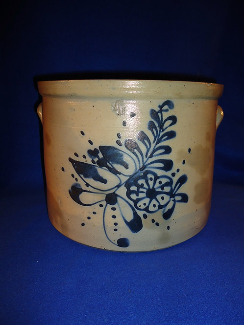 4 Gallon Stoneware Cake Crock with Bouquet of Flowers, att. Fulper Pottery