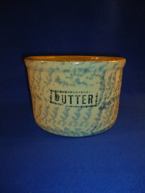 Blue and White Spongeware Stoneware Butter Crock