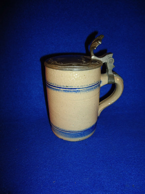 19th Century Stoneware Stein with Engraved Pewter Lid- W. Priesmeyer