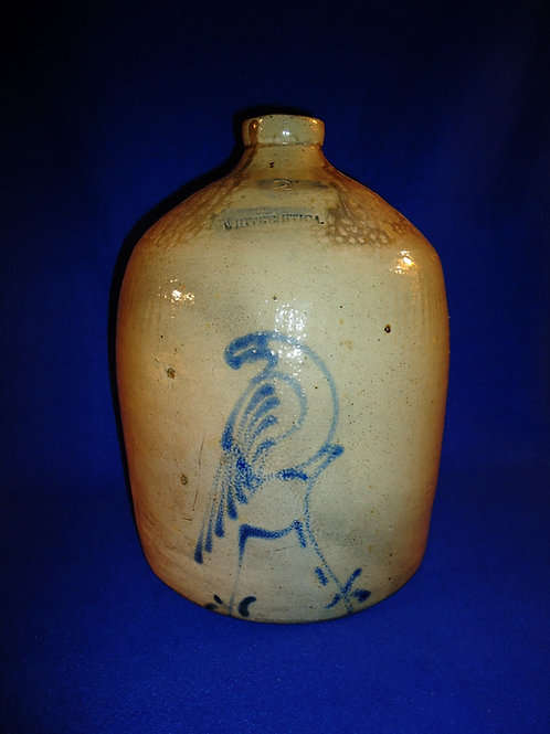 Whites of Utica, New York Stoneware Jug with Parrot on a Stump