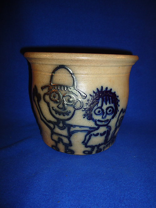 Beaumont Pottery, York, Maine Stoneware Jar with Zombie Family #5141
