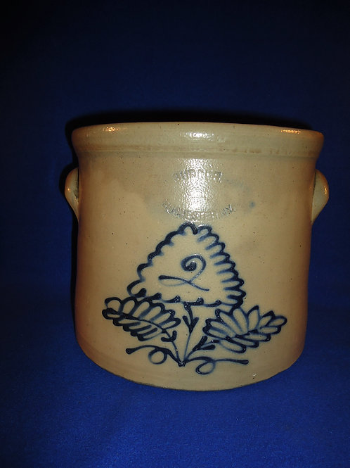 J. Burger Jr., Rochester, New York Stoneware 2 Gallon Crock with Floral
