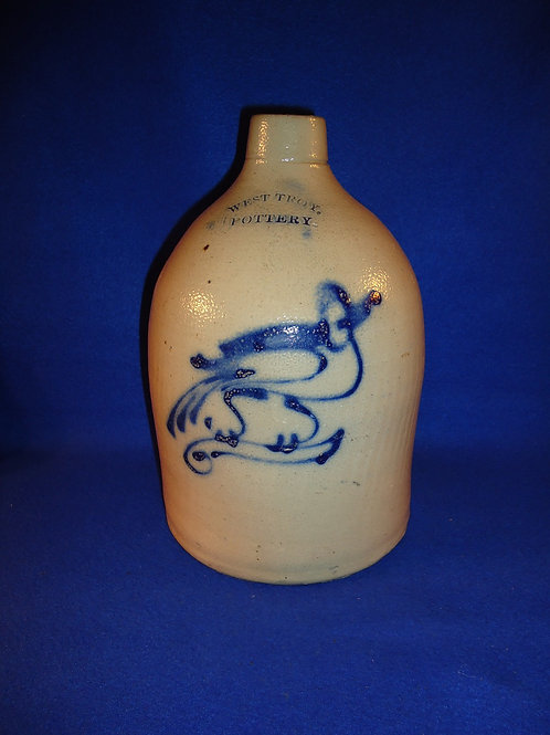 West Troy Pottery, New York Stoneware 1 Gallon Jug with Bird