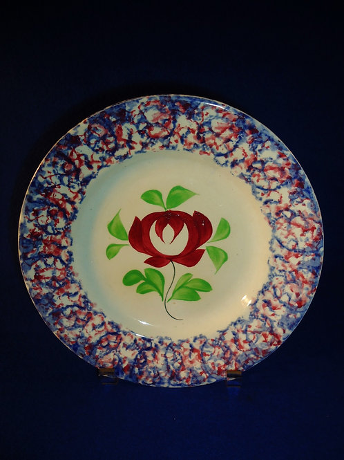 Adams Rose Plate with Blue and Red Sponged Border