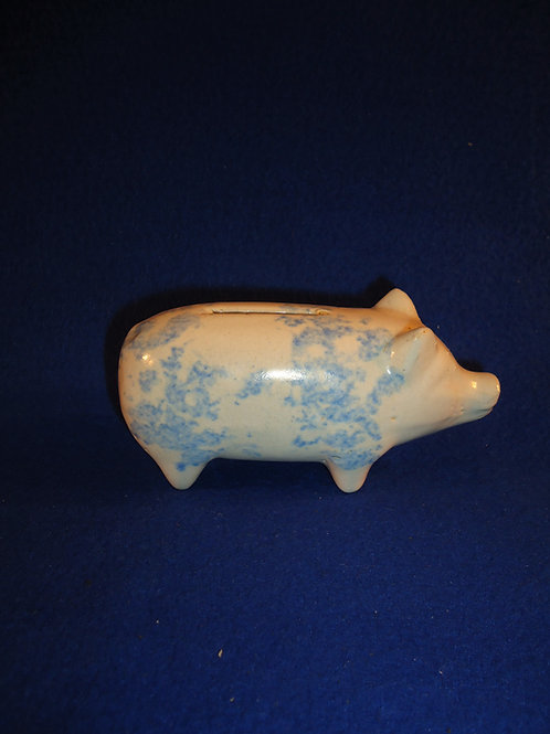 Circa 1890 to 1920 Blue and White Spongeware Stoneware Piggy Bank #5297