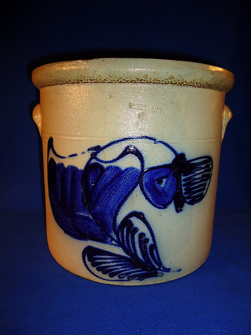 N. A. White, Utica, New York 3 Gallon Stoneware Crock with Orchid