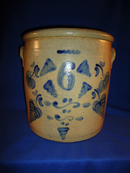 Ohio Stoneware Crock with Apples, Leaves, and Tornadoes #5351