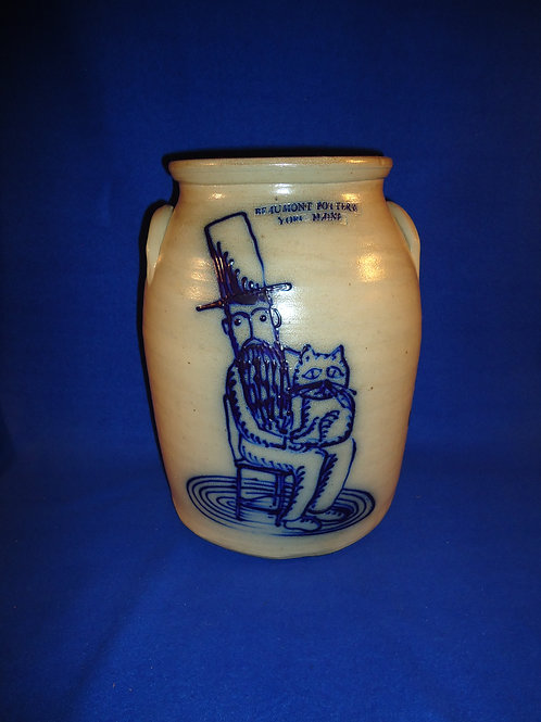 Beaumont Pottery, York, Maine Stoneware Jar with Man and His Cat #5061