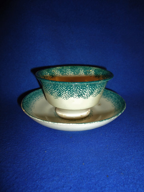 Green and White Spatterware Handleless Cup and Saucer #5480