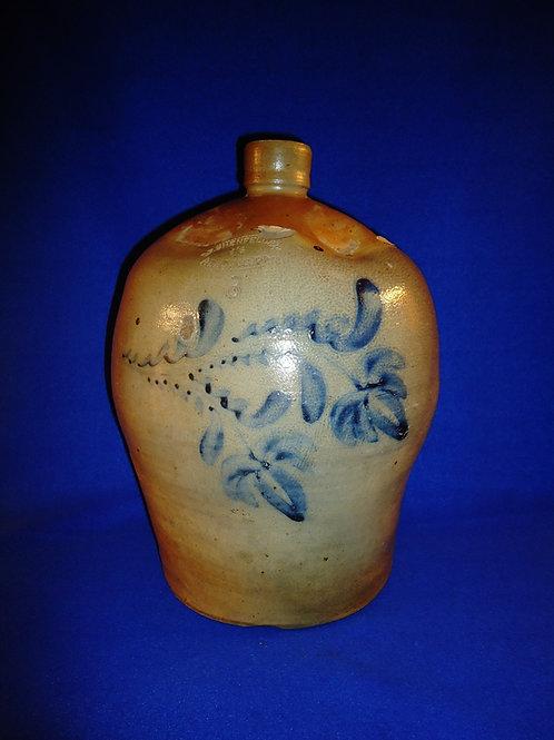 Daniel Shenfelder, Reading, Pennsylvania Stoneware 3 Gallon Jug with Fuchsia