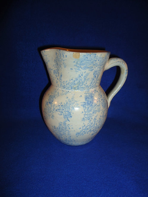 Blue and White Spongeware, Stoneware Pitcher #4544