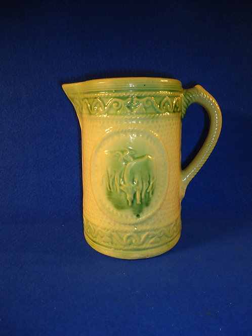 "Yellow Ware 7 1/2"" Grazing Cow Pitcher by A. E. Hull in Very Good Condition"