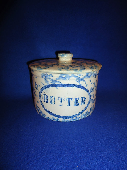 Little Blue and White Spongeware Stoneware Butter Crock with Lid #5441