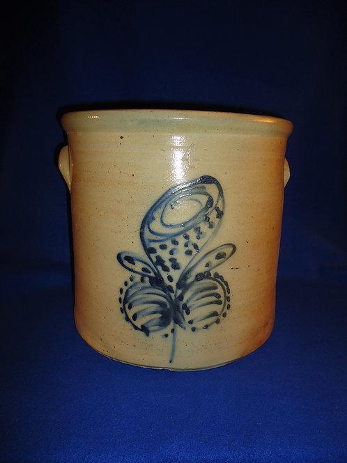 4 Gallon Stoneware Crock with Trumpet Flower, att. Vaupel of Brooklyn #5393