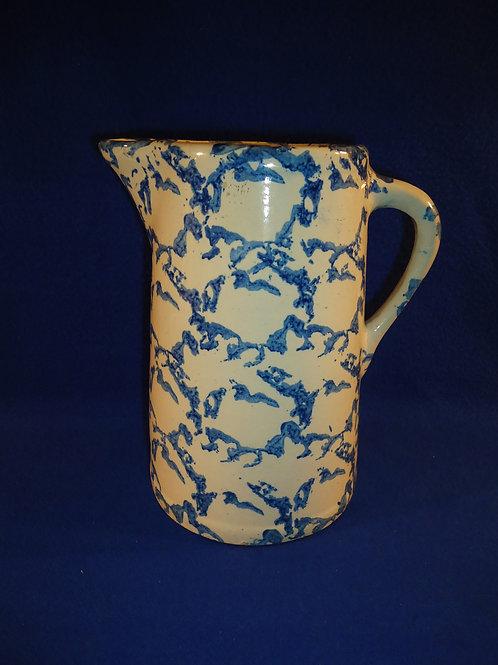 Blue and White Stoneware Spongeware Pitcher, Chainlink Pattern #4396