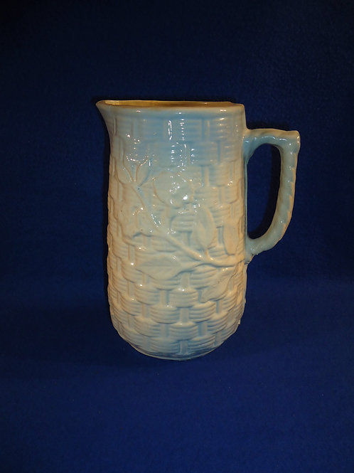 Blue and White Basket Weave and Morning Glory Stoneware Pitcher #5399