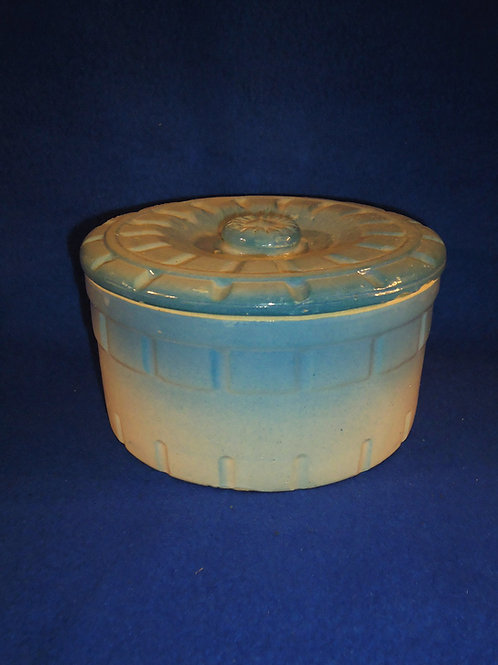 Blue and White Butter Crock with Geometric Pattern #5414