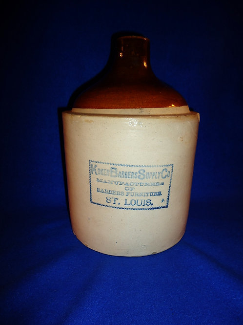 Koken Barbers Supply, St. Louis, Missouri Stoneware Jug